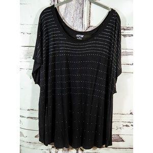 3X Apt 9 Black Studded Dolman Top Short Sleeve